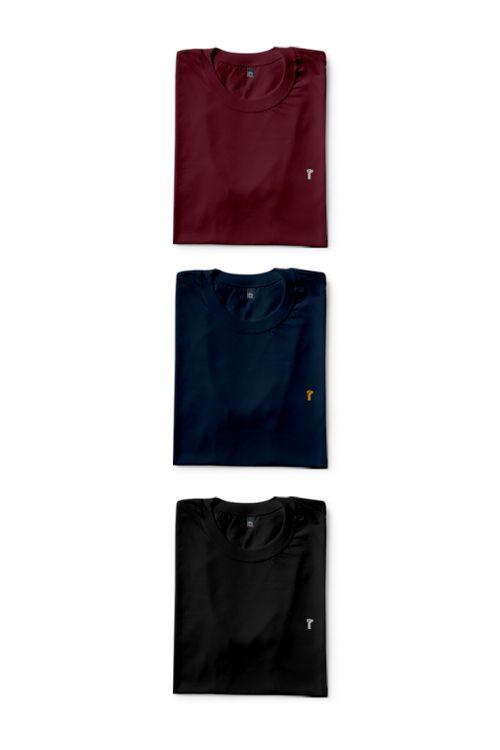 Kit 3 Camisas Básicas Dark Color